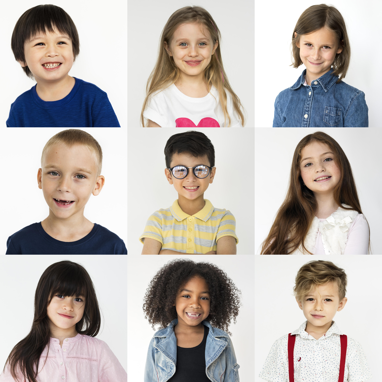 people-set-diversity-kids-playful-studio-collage